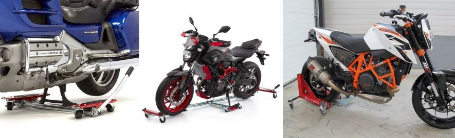 Transport, immobilisation, déplacer moto : chariots moto