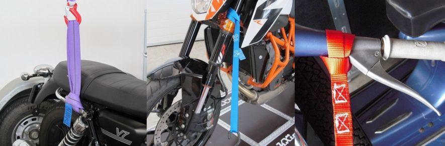 Arrimage et transport moto : sangle boucle, bride, élingue